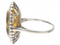 Edwardian Large Oval Citrine & Diamond Ring