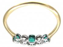 Edwardian Emerald & Diamond Five Stone Ring