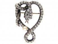 Victorian Diamond Snake Brooch