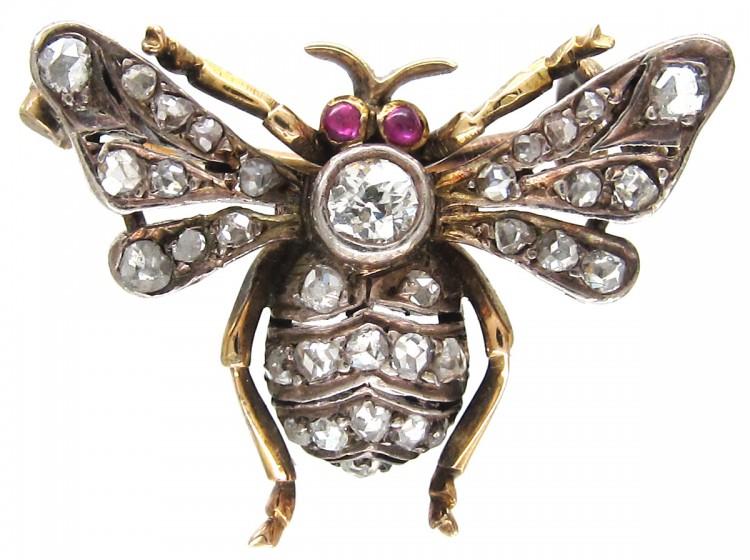 Diamond & Ruby Bee Brooch