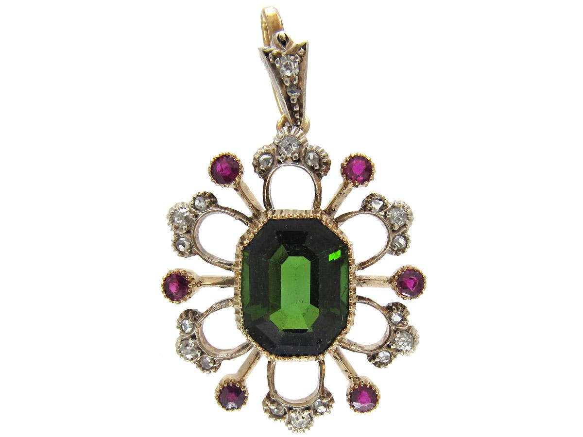 Suffragette Diamond, Green Tourmaline & Ruby 15ct Gold Pendant