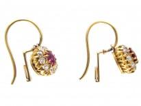 Edwardian Ruby & Diamond Cluster Earrings