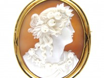 Victorian 18ct Gold Shell Cameo of Classical Lady