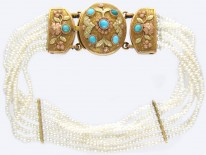 Regency Natural Seed Pearls & Three Colour Gold & Turquoise Bracelet
