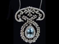 Edwardian Platinum Aquamarine & Diamond Pendant by J E Caudwell on Platinum Chain
