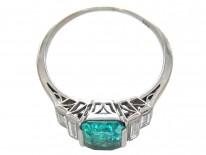 Art Deco Emerald & Diamond Baguette Ring