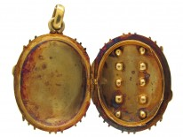 Ruby & Emerald Studded Victorian Gold Oval Locket