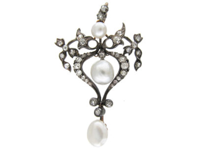 Art Nouveau Diamond & Natural Pearl Pendant