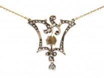 Edwardian Natural Pearl & Diamond Pendant on Platinum & Gold Two Colour Chain