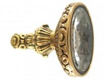 Georgian Rock Crystal & Gold Seal with Coronet & Arrows Intaglio