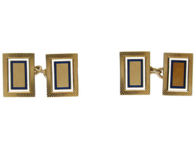 18ct Gold Art Deco Enamel Cufflinks by Cropp & Farr