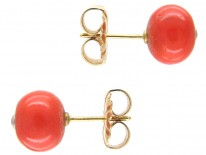 Victorian Coral & Diamond Button Earrings