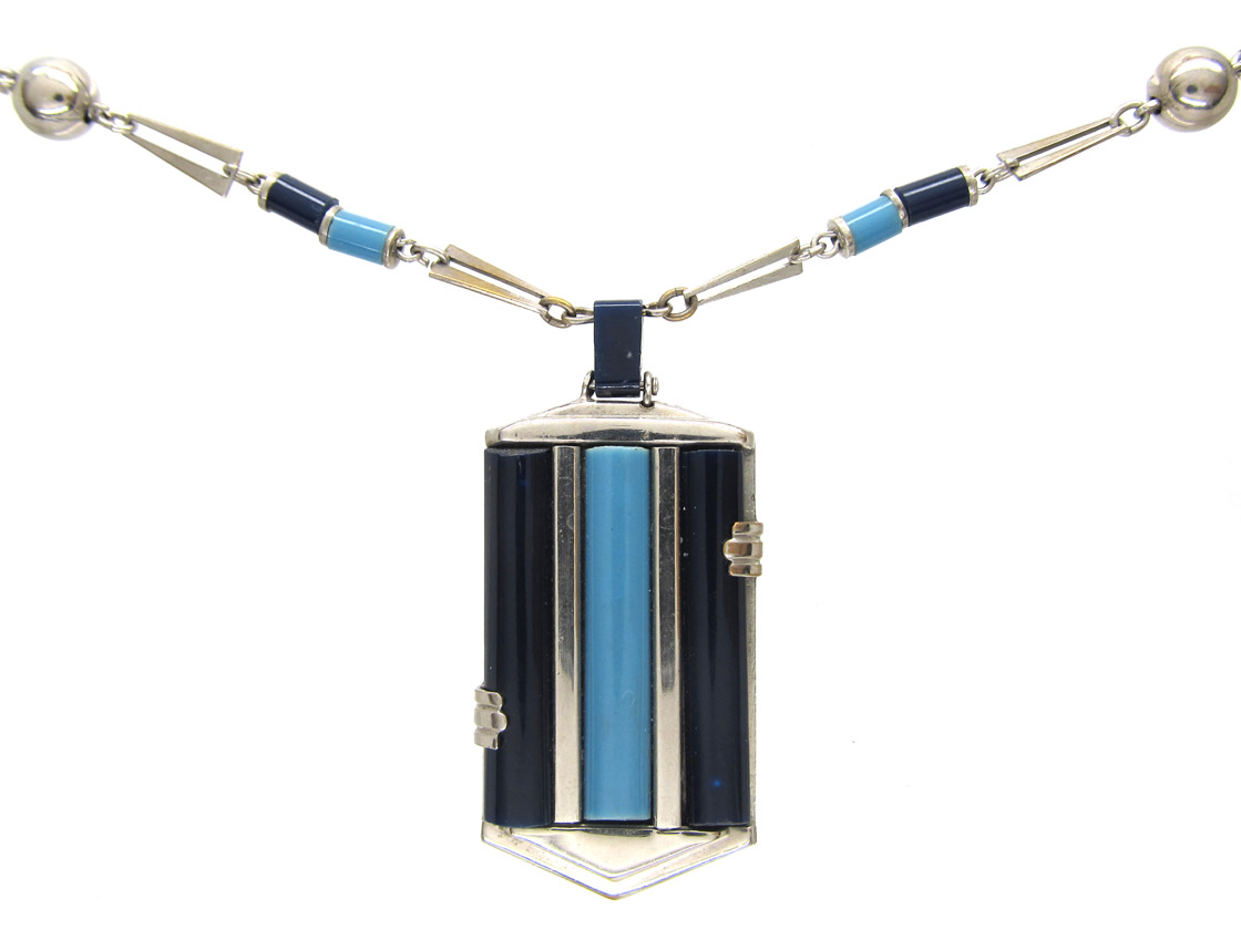Art Deco Chrome & Bakelite Necklace