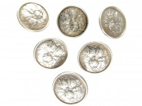 Set of Six Silver Angel Buttons