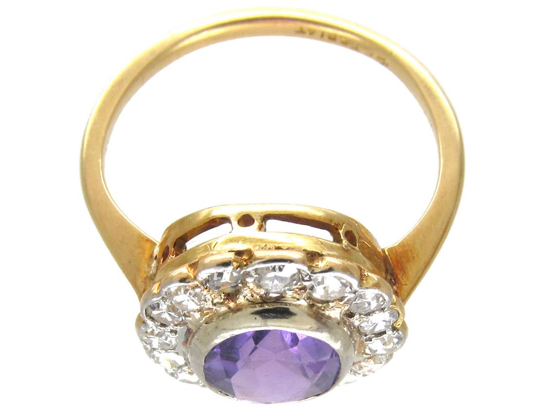 Edwardian Amethyst & Diamond Oval Cluster Ring