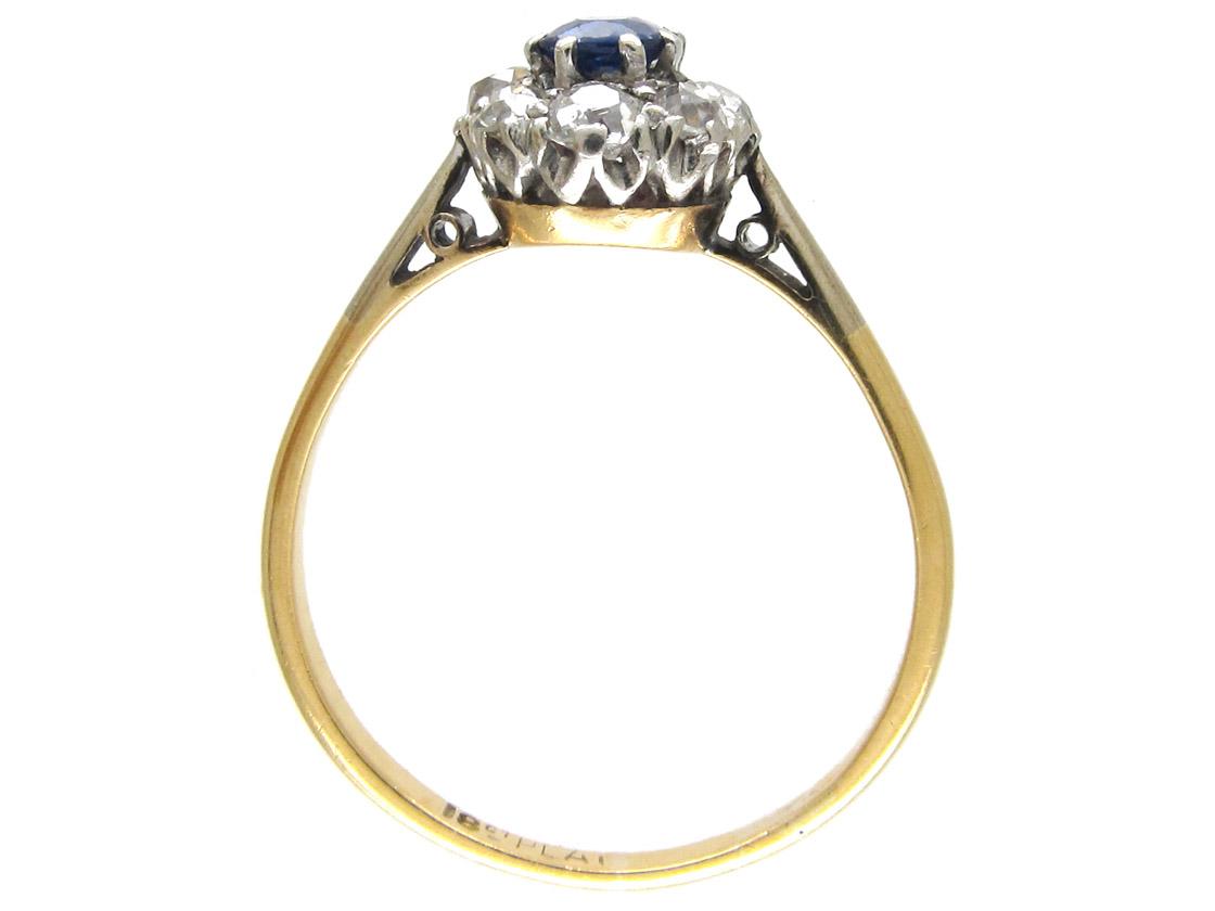 Art Deco Sapphire & Diamond Cluster Ring