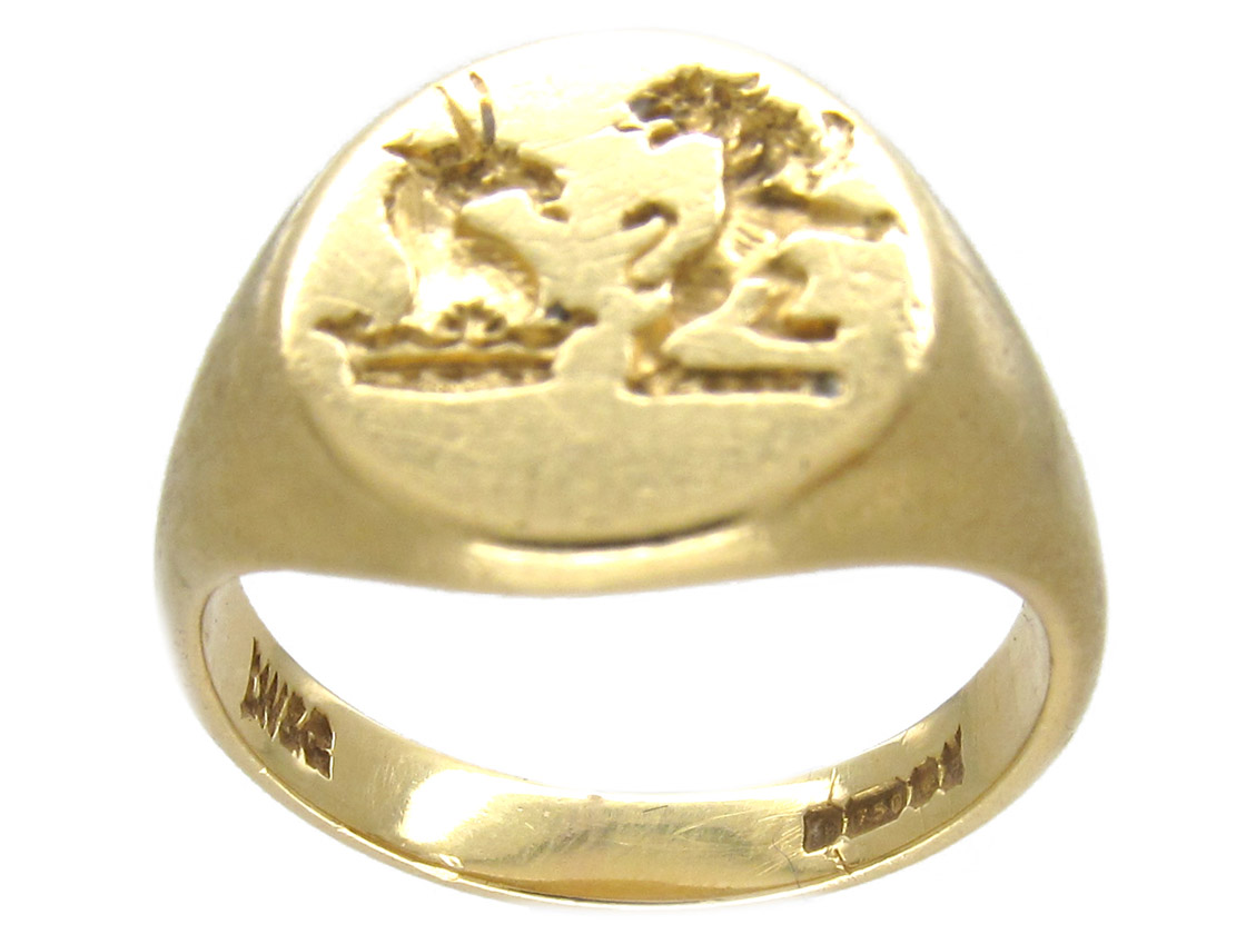 18ct Gold Double Crested Signet Ring