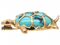 18ct Gold & Turquoise Tortoise or Small Turtle Brooch