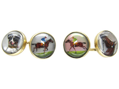 15ct Gold & Rock Crystal Cufflinks of a Jack Russell, Racing & a Horse Head