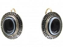 Victorian Banded Onyx Silver & Enamel Earrings