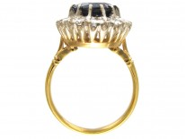 Large 18ct Gold Sapphire & Diamond Cluster Ring
