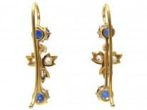 18ct Gold Edwardian Sapphire & Diamond Drop Earrings