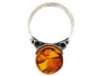 Amber & Silver 1960s Ring