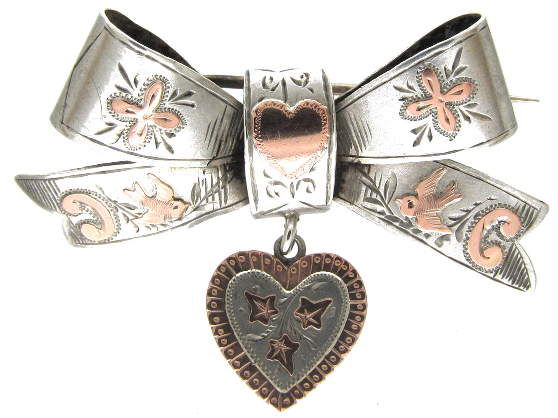 Victorian Silver & Gold Overlay Sweetheart Brooch