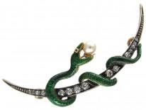 Victorian Enamel Snake & Diamond Crescent Brooch