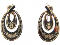Victorian Tortoiseshell & Pique Double Hoop Earrings