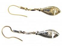 Sapphire, Diamond & Pearl Art Deco Drop Earrings