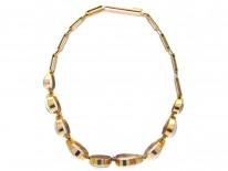 Edwardian Gold & Moonstone Hearts Bracelet