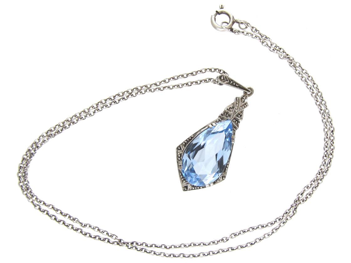 Art Deco Silver & Blue Paste Pendant on Chain