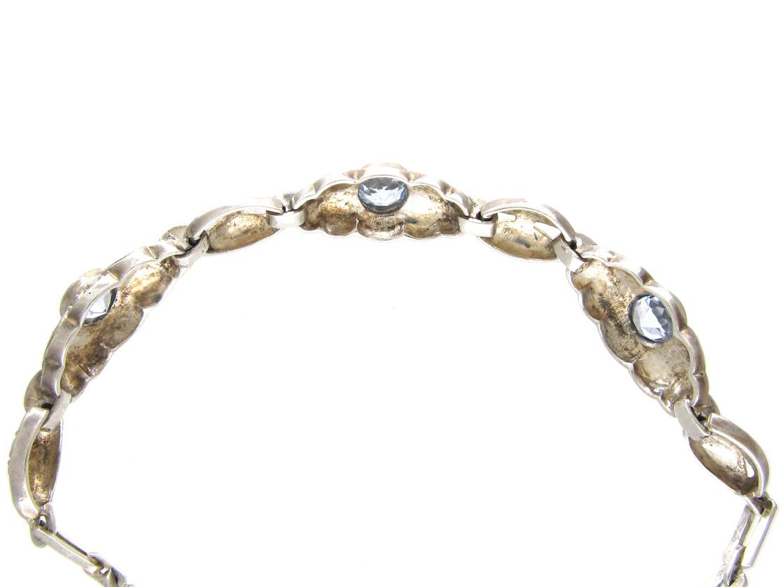 Art Deco Silver & Blue Paste Bracelet