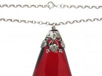 Art Nouveau Silver & Cherry Amber Pendant on Chain