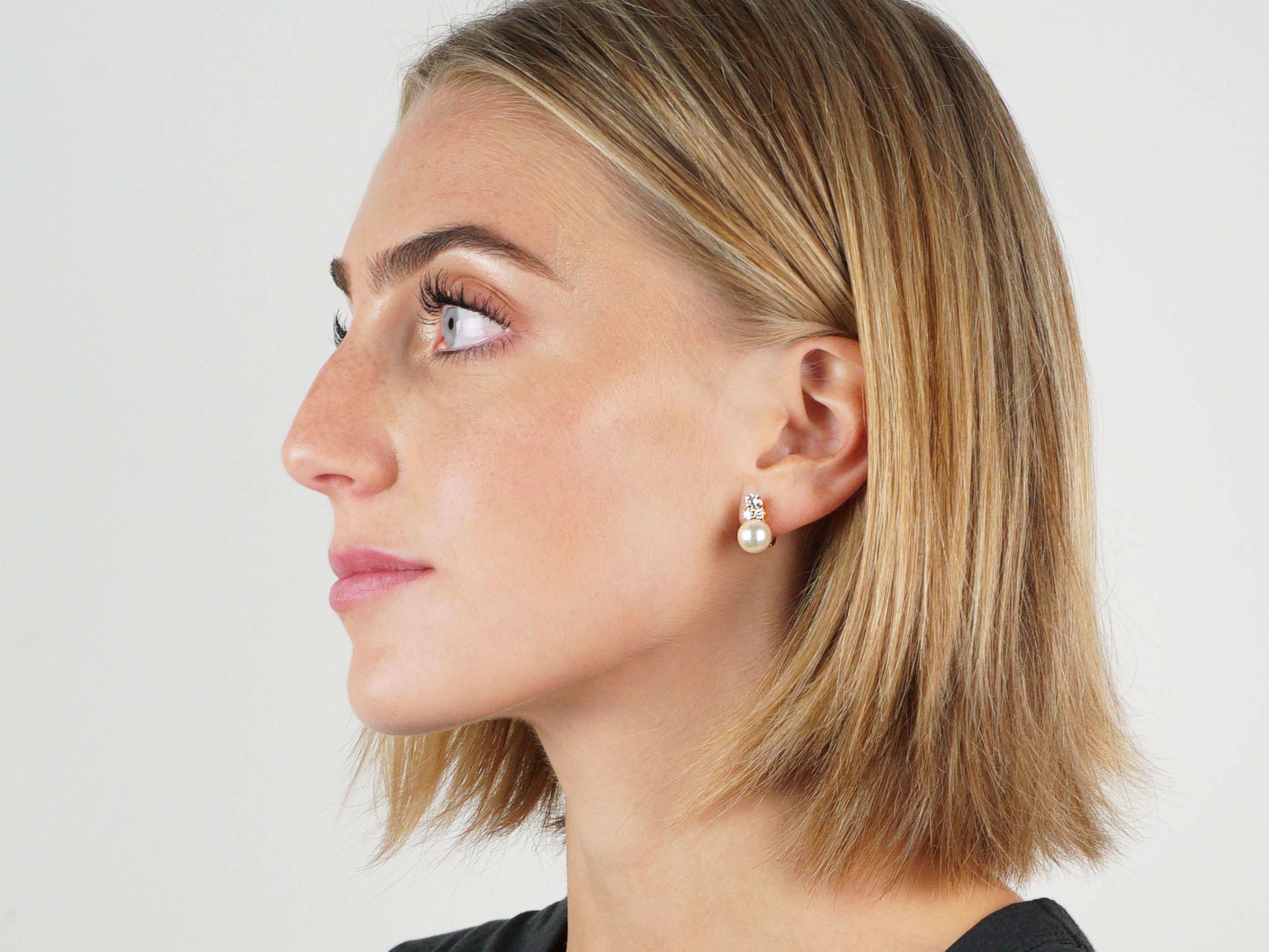 Pearl & Diamond Clip & Post Earrings