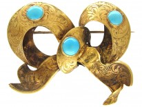 Victorian 15ct Gold & Turquoise Bow Brooch