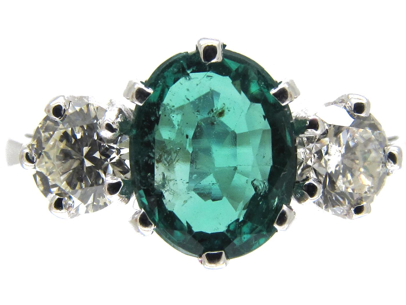 Three Stone Emerald & Diamond Ring