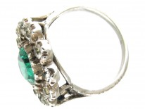 Edwardian Large Green & White Paste Cluster Ring
