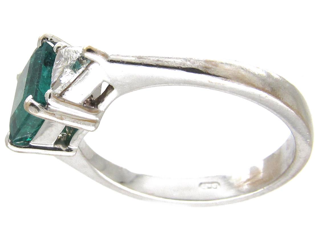 Square Cut Emerald & Diamond Ring