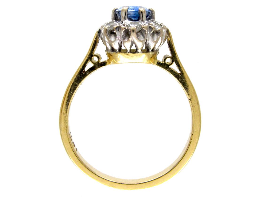 Ceylon Sapphire & Diamond Oval Cluster Ring