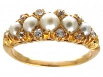 Victorian Natural Pearl & Diamond Ring