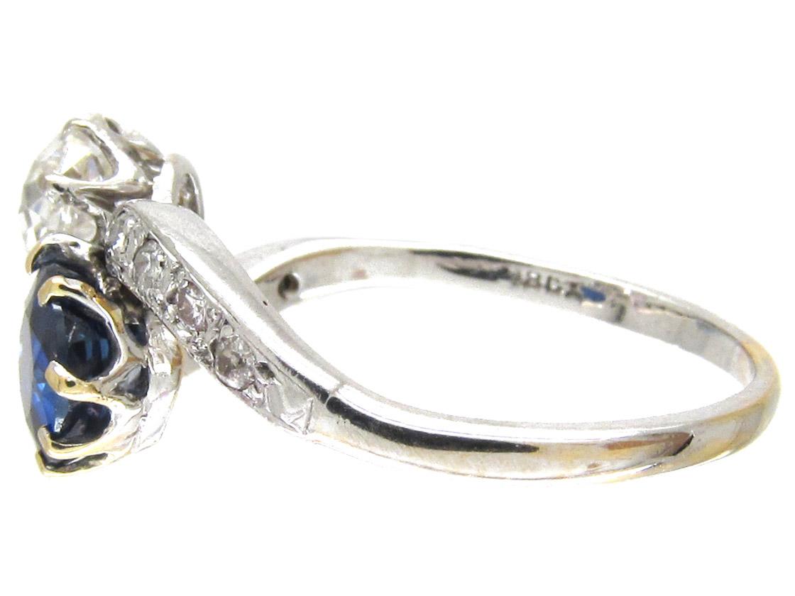 Edwardian Sapphire & Diamond Crossover Ring
