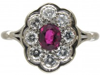 Art Deco Ruby & Diamond Oval Cluster Ring