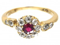 Edwardian Ruby & Diamond Cluster Ring with Diamond Shoulders