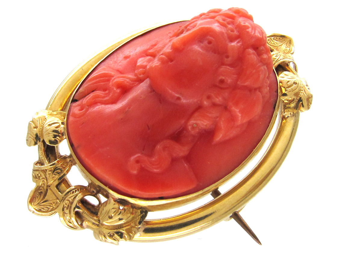 Carved Coral Late Georgian Cameo Brooch of Classical Lady's Head