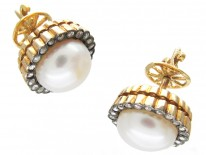 18ct Gold Rose Diamond & Pearl Round Earrings