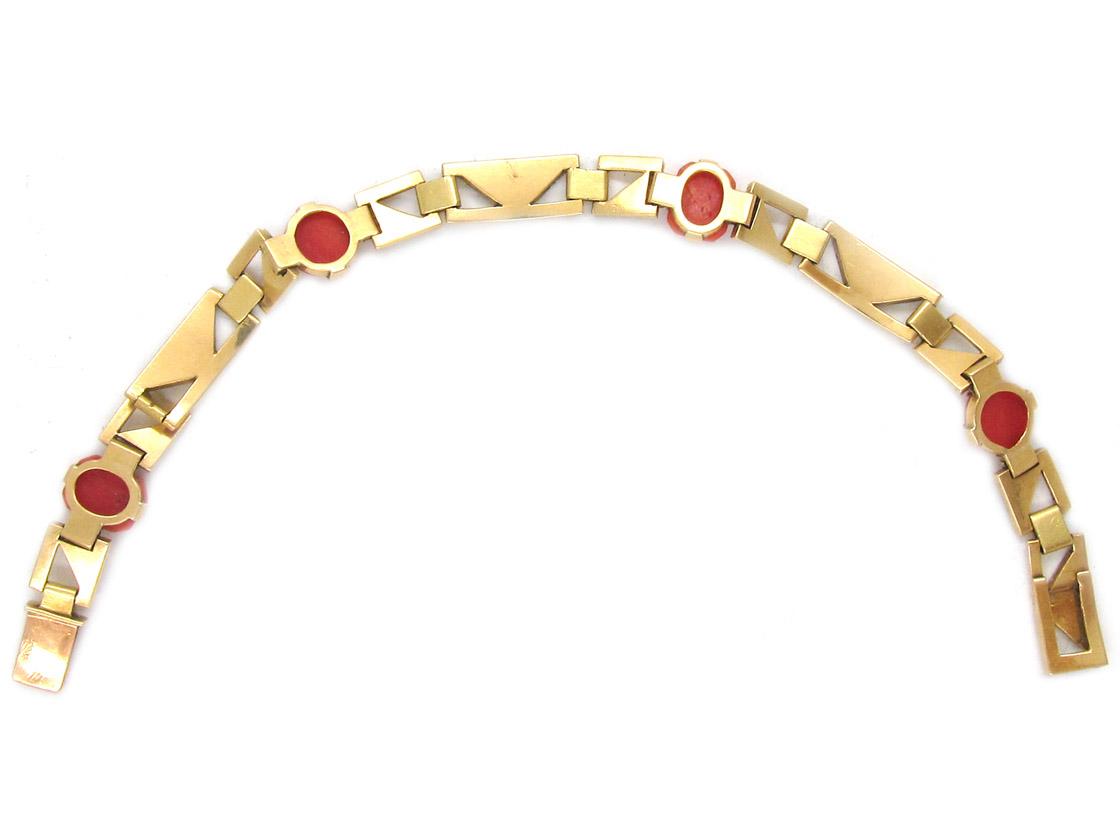 Art Deco 18ct Gold & Platinum & Coral Bracelet