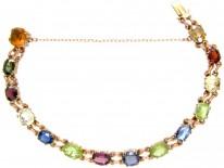 Edwardian Multi Gemstone 9ct Gold Bracelet