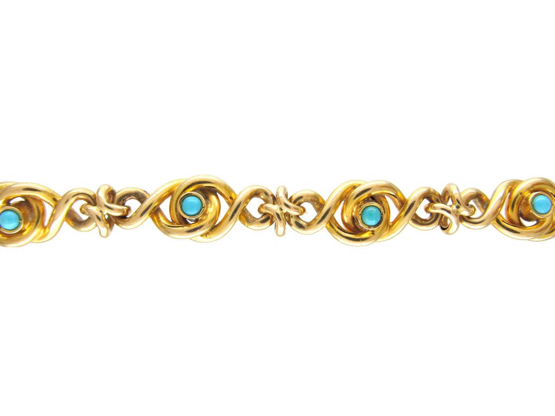 18ct Gold Edwardian Knotty Bracelet set with Turquoise